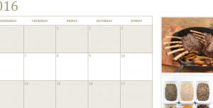 Dinner Photo Calendar