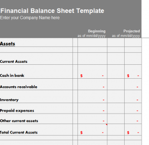Financial Balance Sheet Template