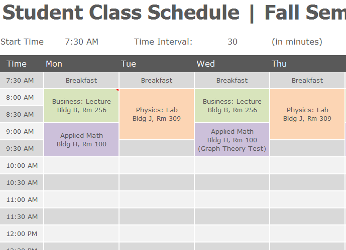 student class schedule