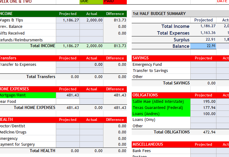Weekly Home Budget Template My Excel Templates – Home Budget Template