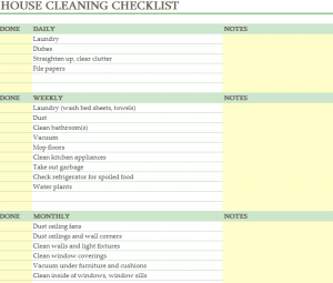 Cleaning Schedule Sheet