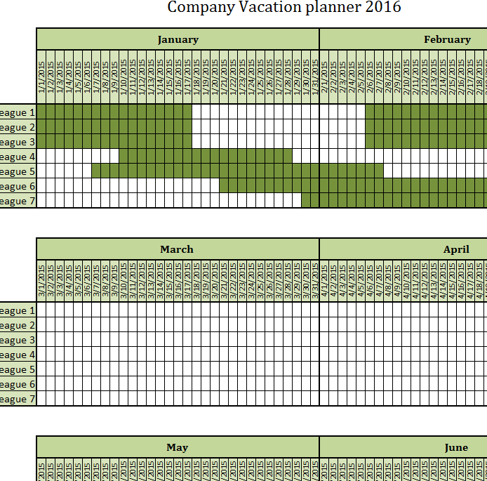 Company Vacation Planner My Excel Templates