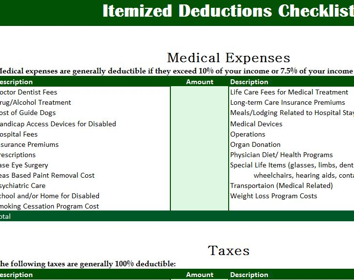 Year Calendar 2016 Excel : Itemized deductions checklist my excel templates