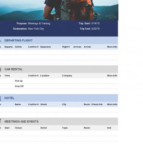 Travel Itinerary Sheet