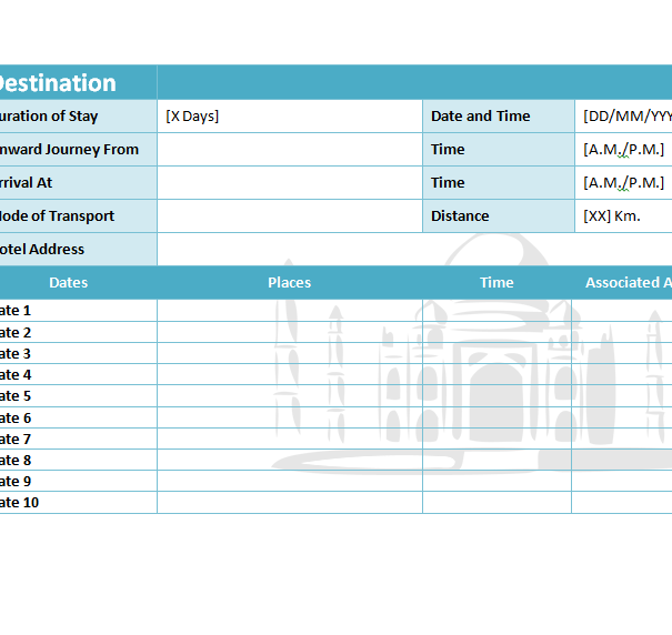 travel itinerary template my excel templates