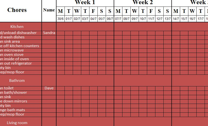 weekly cleaning sheet