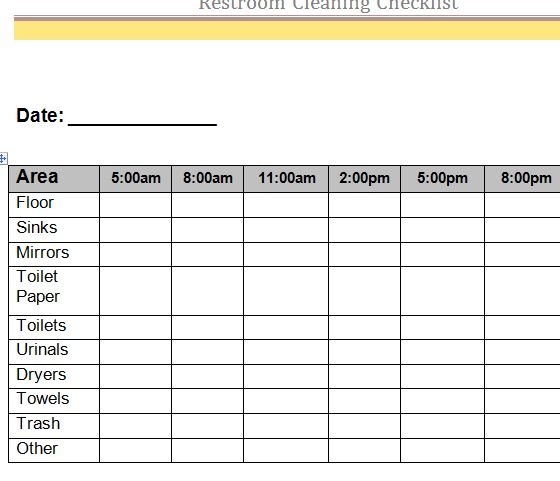 Restroom Cleaning Checklist - My Excel Templates