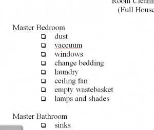 room cleaning checklist