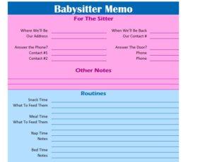 Babysitter Memo