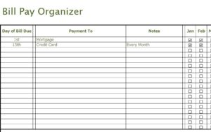 Bill Pay Organizer My Excel Templates