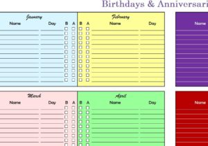 Birthdays & Anniversaries Chart