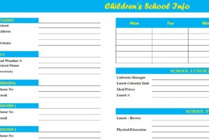 Children's school template