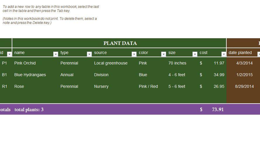 Garden Planner - My Excel Templates