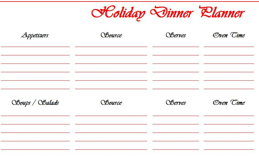 holiday dinner planner