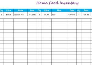 Home Food Inventory - My Excel Templates