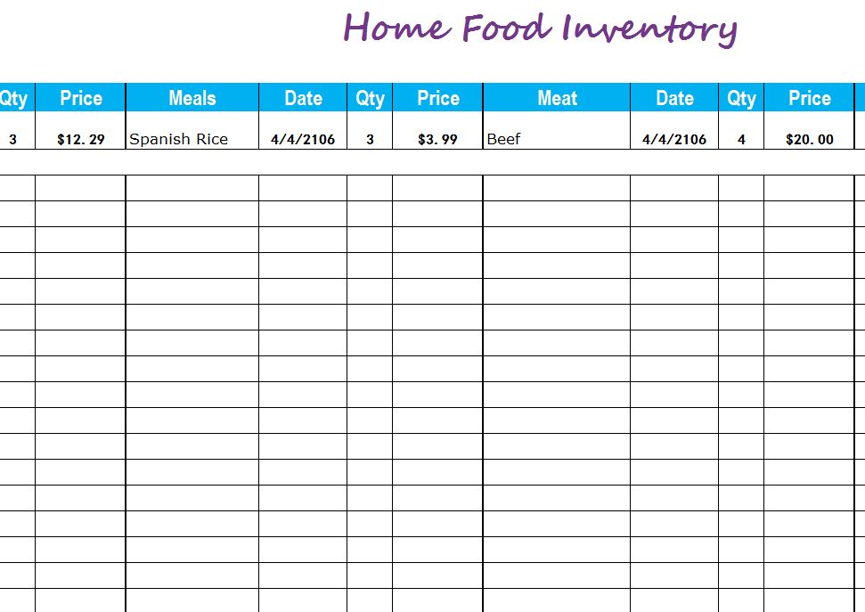 Home Food Inventory My Excel Templates
