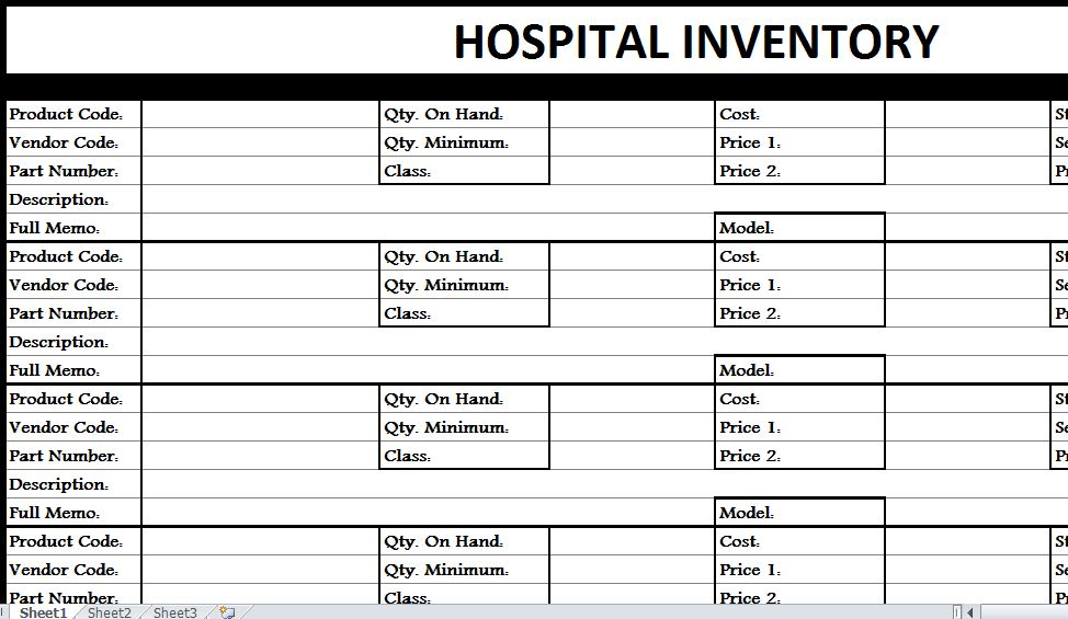 Hospital Inventory List My Excel Templates