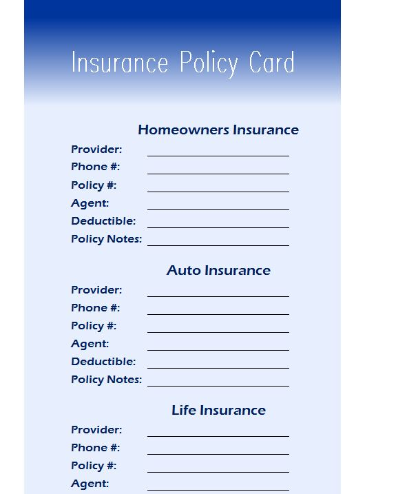 Insurance Policy Card - My Excel Templates
