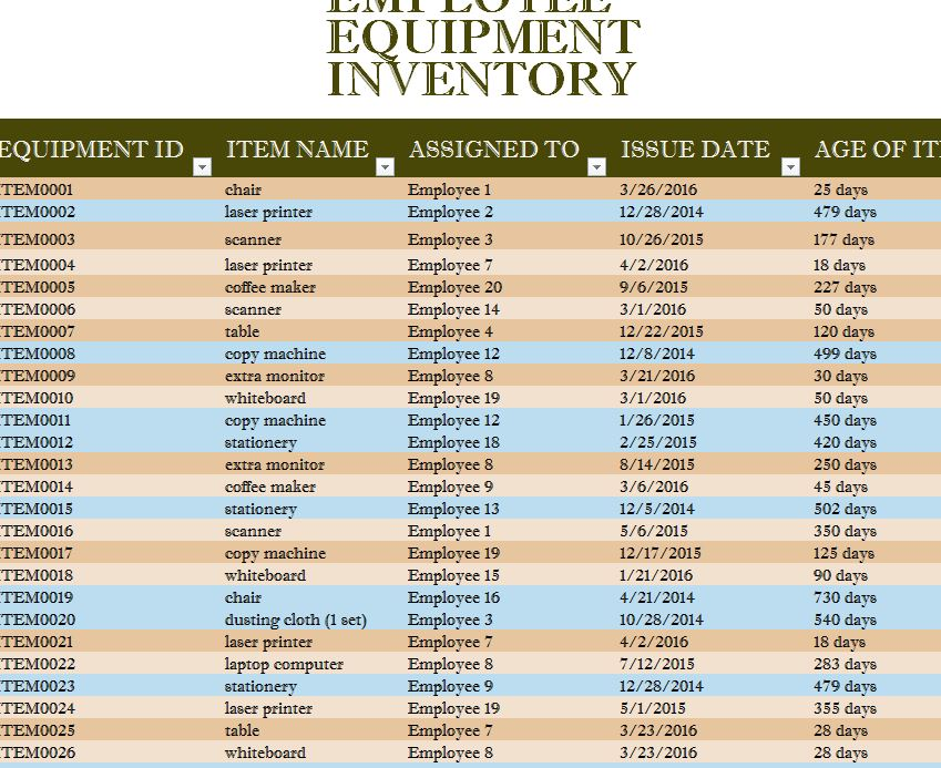 Employee Equipment Inventory Sheet My Excel Templates