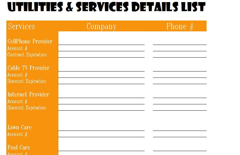 utilities and services detail list