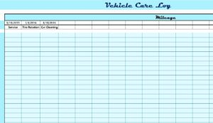 Vehicle Care Log