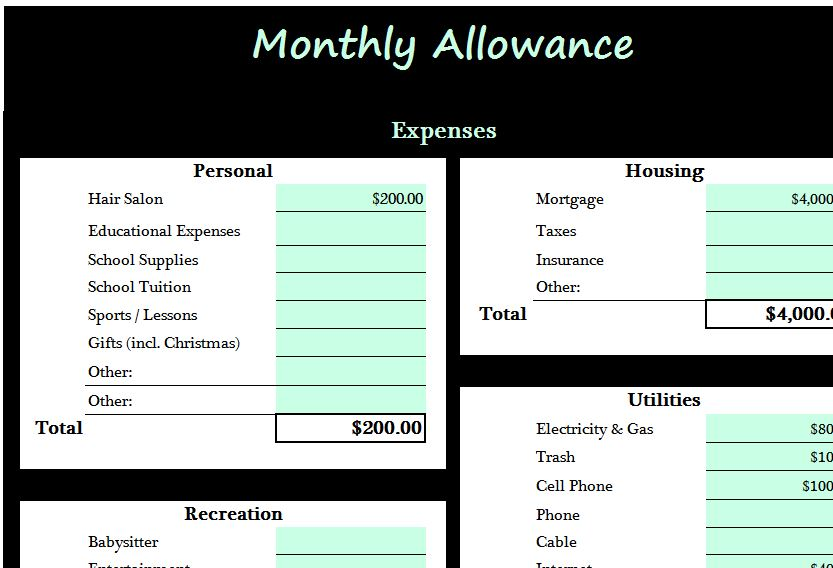 Monthly allowance template my excel templates for Allowance chart template