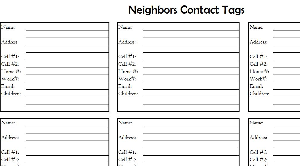 Neighbors Contact List My Excel Templates