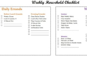 weekly household checklist