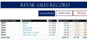 Retail Sales Record - My Excel Templates
