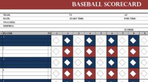 Baseball Scorcard Template
