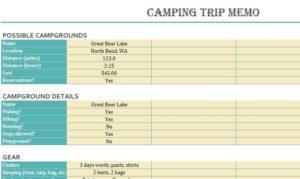 Camping Trip Memo