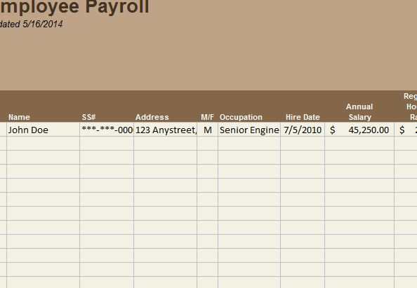 employee payroll template