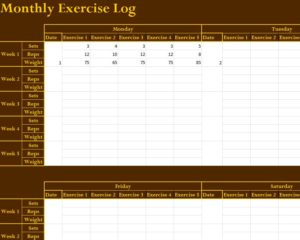 Monthly Exercise Log