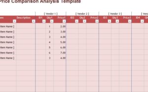 Price Comparison Analysis Template - My Excel Templates