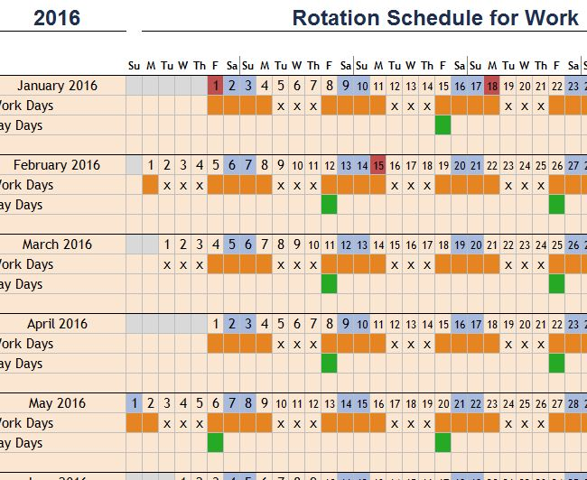 rotation schedule for work