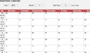 Seamless Monthly Calendar