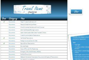 Travel Items Checklist