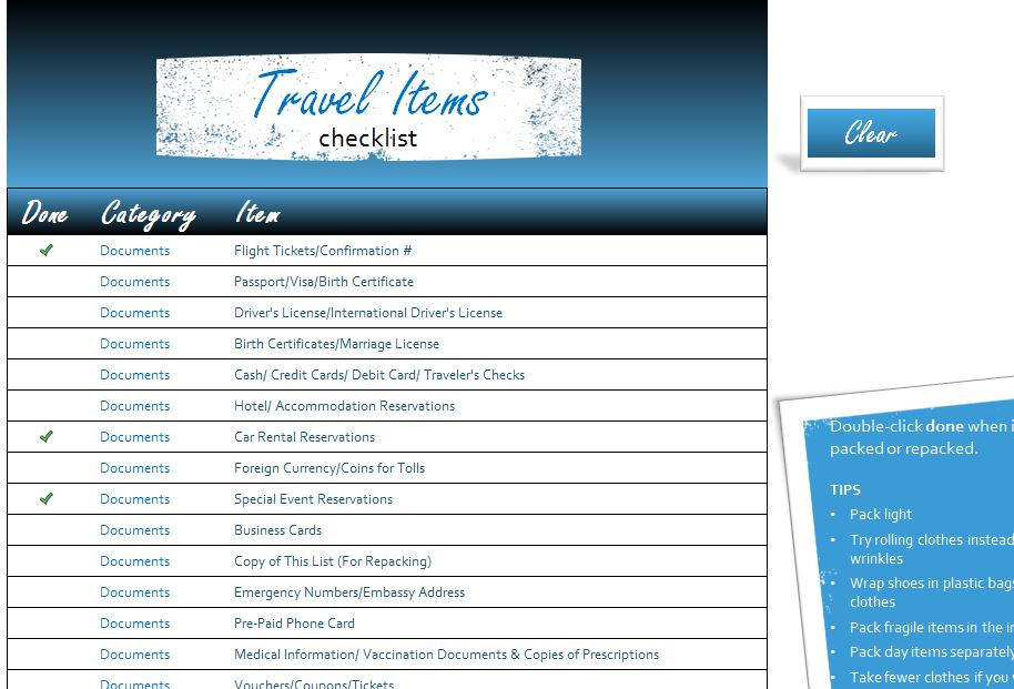 Travel Items Checklist - My Excel Templates