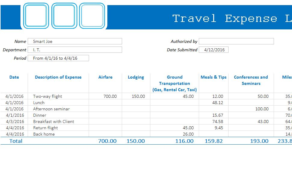 Travel Expense Log My Excel Templates