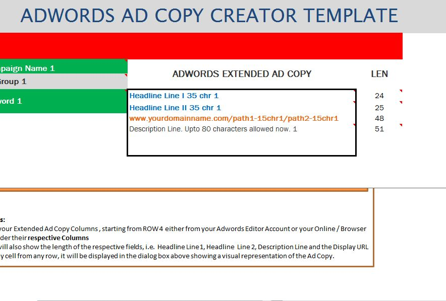 adwords extended ad creator template my excel templates. Black Bedroom Furniture Sets. Home Design Ideas
