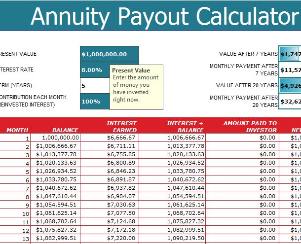 Annuity Payout Calculator - My Excel Templates