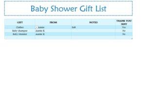 Baby Shower Gift List