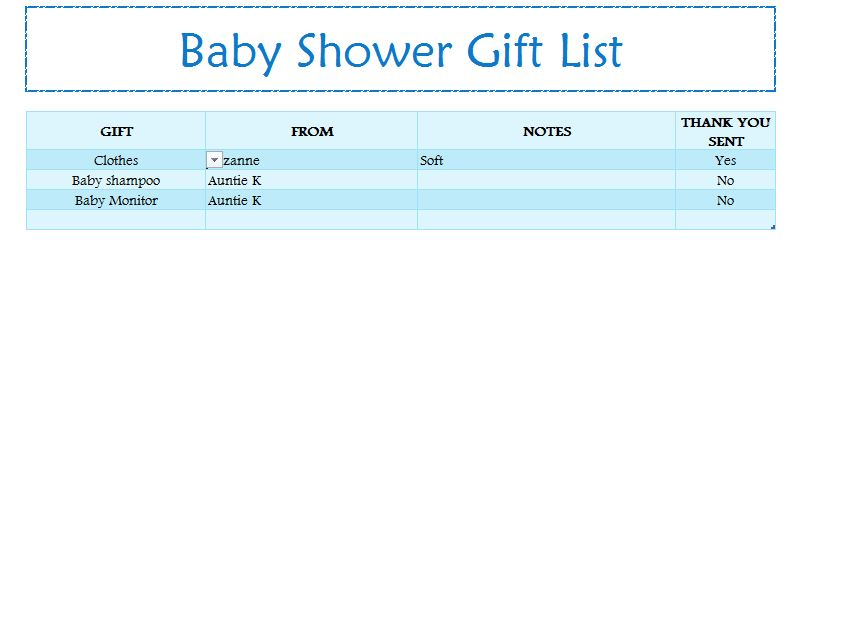baby shower gift list my excel templates