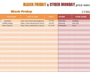 Black Friday & Cyber Monday Price Watch List