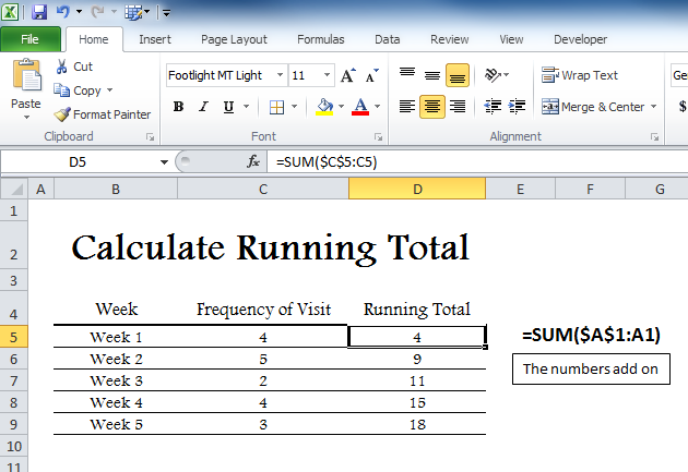 calculate running total