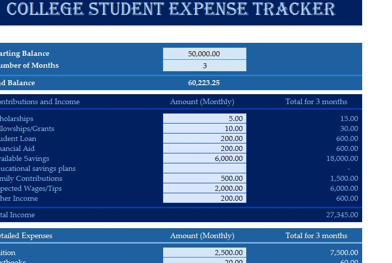 college student expense tracker
