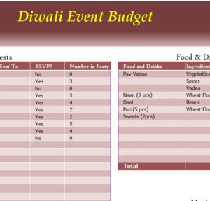 Diwali Event Budget My Excel Templates