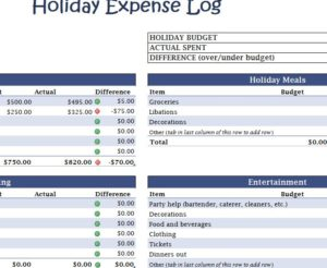 Holiday Expense Log