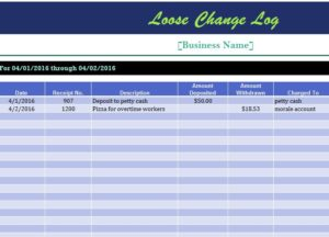 Loose Change Log My Excel Templates