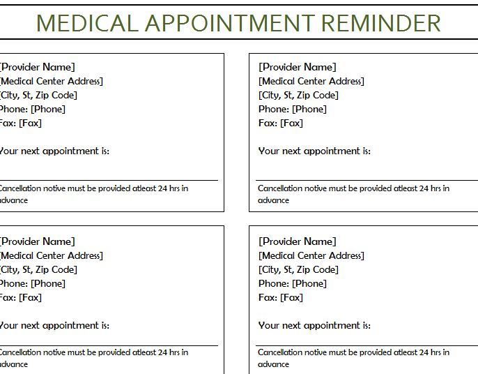 free appointment reminder cards template